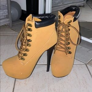 Stiletto heels lace up booties